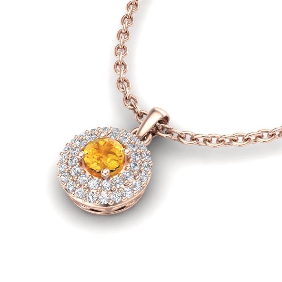 0.60 CTW Citrine & Micro VS/SI Diamond Necklace 14K - 2