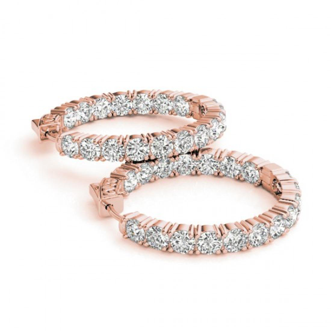 5 CTW Diamond VS/SI Certified 21 Mm Hoop Earrings 14K