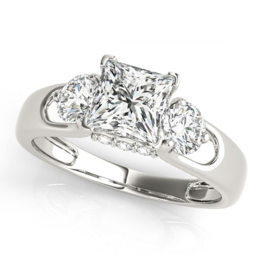 1.6 CTW Certified VS/SI Princess Cut Diamond 3 Stone - 2