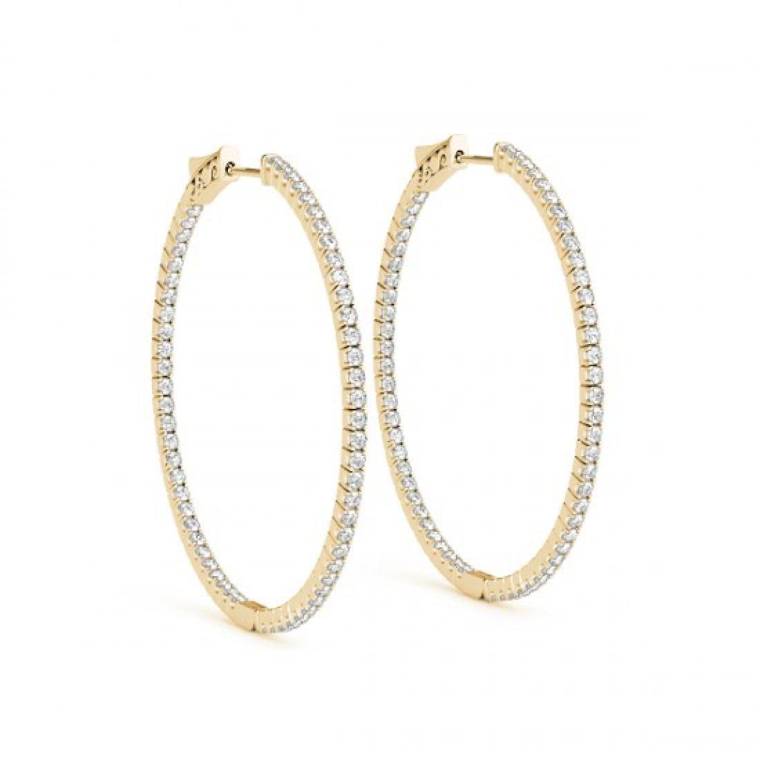2 CTW Diamond VS/SI Certified 52 Mm Hoop Earrings 14K - 2