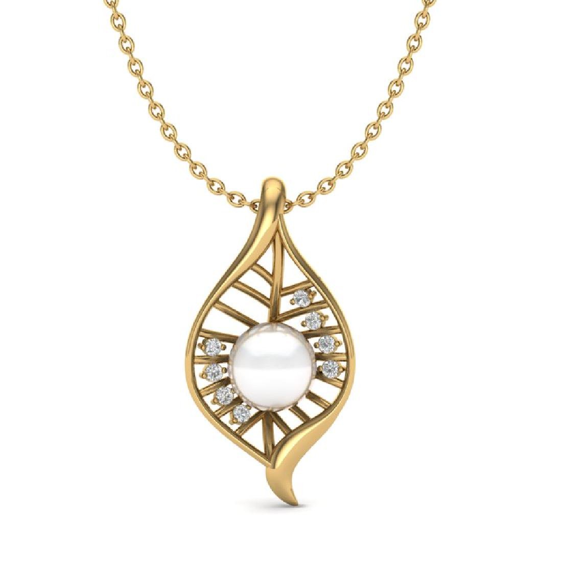 0.31 CTW VS/SI Diamond With White Pearl Necklace 14K