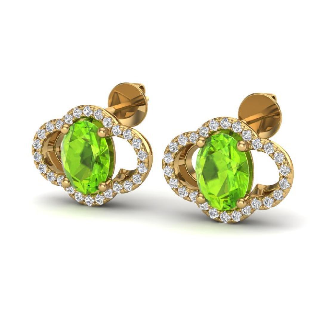 3.50 CTW Peridot & Micro Pave VS/SI Diamond Earrings