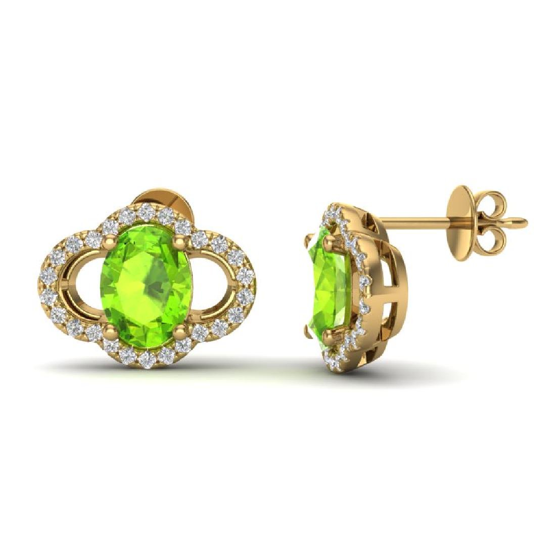 3.50 CTW Peridot & Micro Pave VS/SI Diamond Earrings - 2