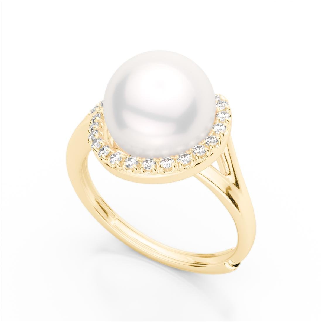 0.27 CTW VS/SI Diamond & Pearl Designer Ring 18K Yellow - 2