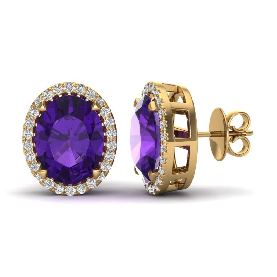 5.50 CTW Amethyst & Micro VS/SI Diamond Halo Earrings - 2