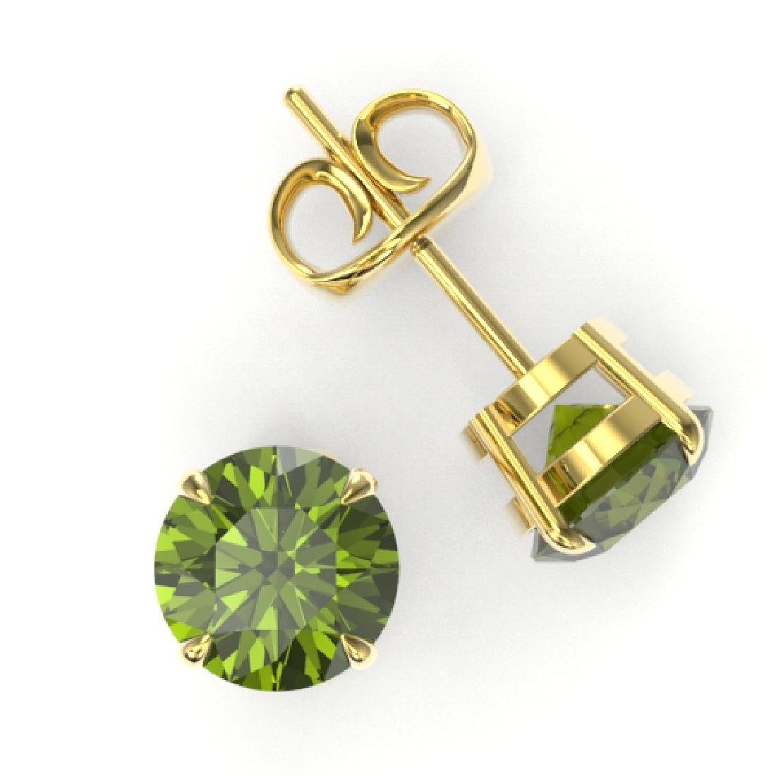 4 CTW Green Tourmaline Designer Solitaire Stud Earrings - 2