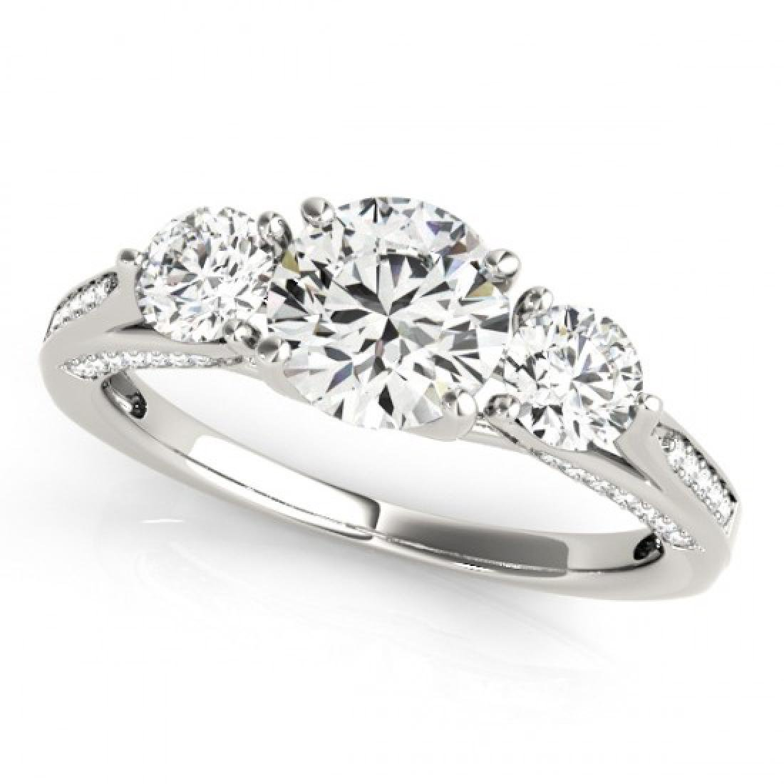1.75 CTW Certified VS/SI Diamond 3 Stone Ring 14K White