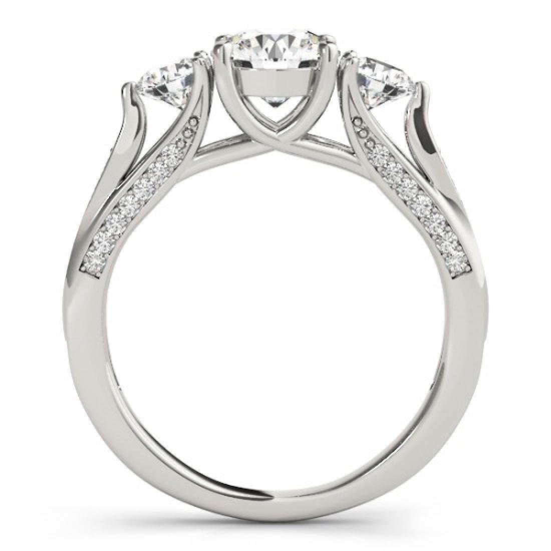 1.75 CTW Certified VS/SI Diamond 3 Stone Ring 14K White - 2