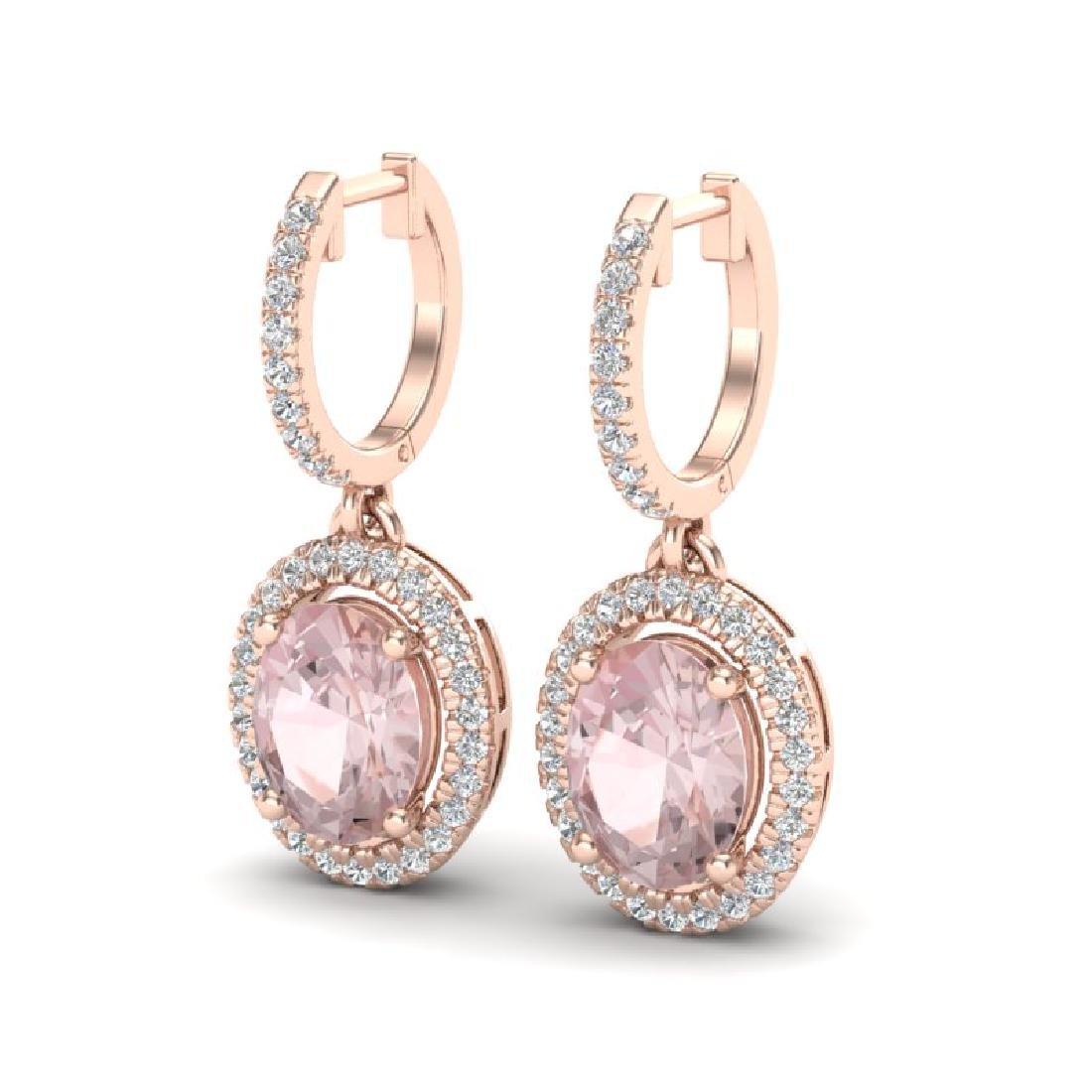 3.25 CTW Morganite & Micro Pave VS/SI Diamond Earrings