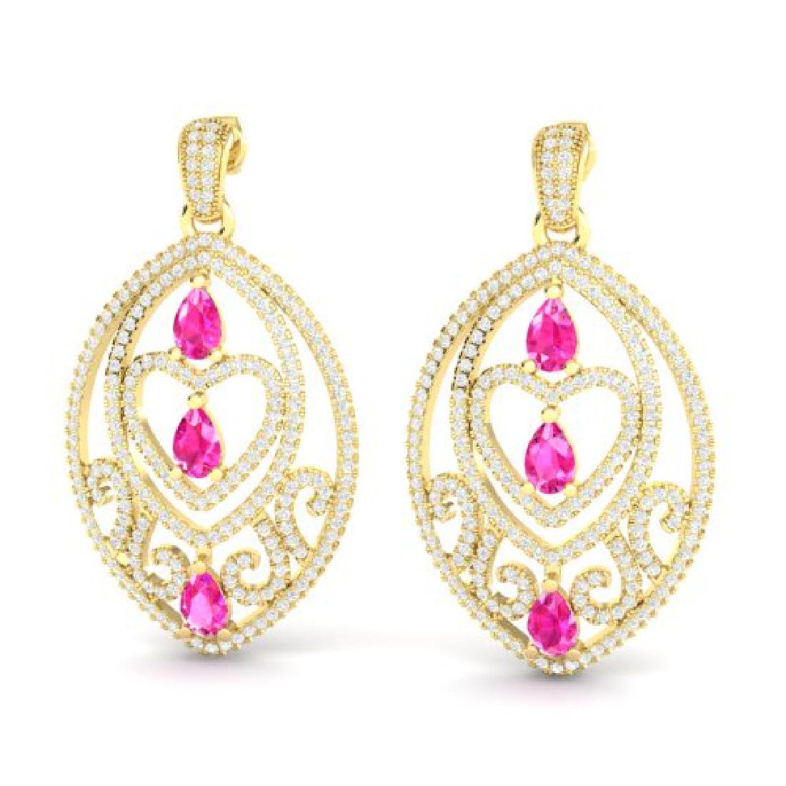 7 CTW Sapphire Pink & Micro Pave VS/SI Diamond Heart