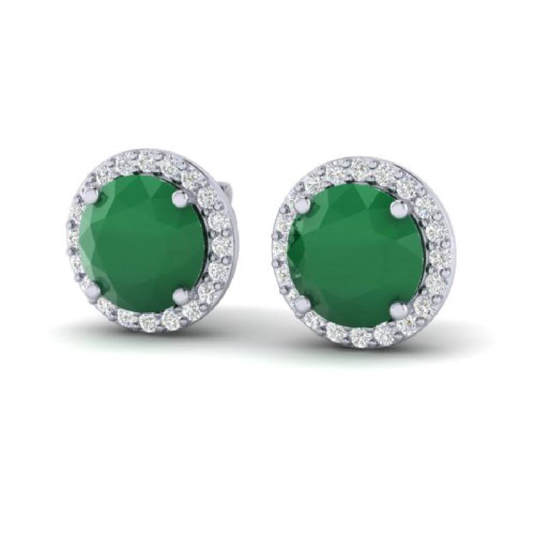 4 CTW Emerald & Halo VS/SI Diamond Micro Pave Earrings