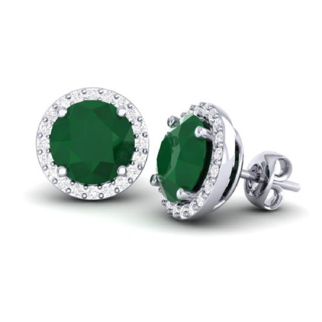 4 CTW Emerald & Halo VS/SI Diamond Micro Pave Earrings - 2