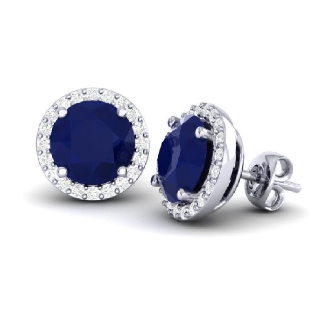 4 CTW Sapphire & Halo VS/SI Diamond Micro Pave Earrings - 2