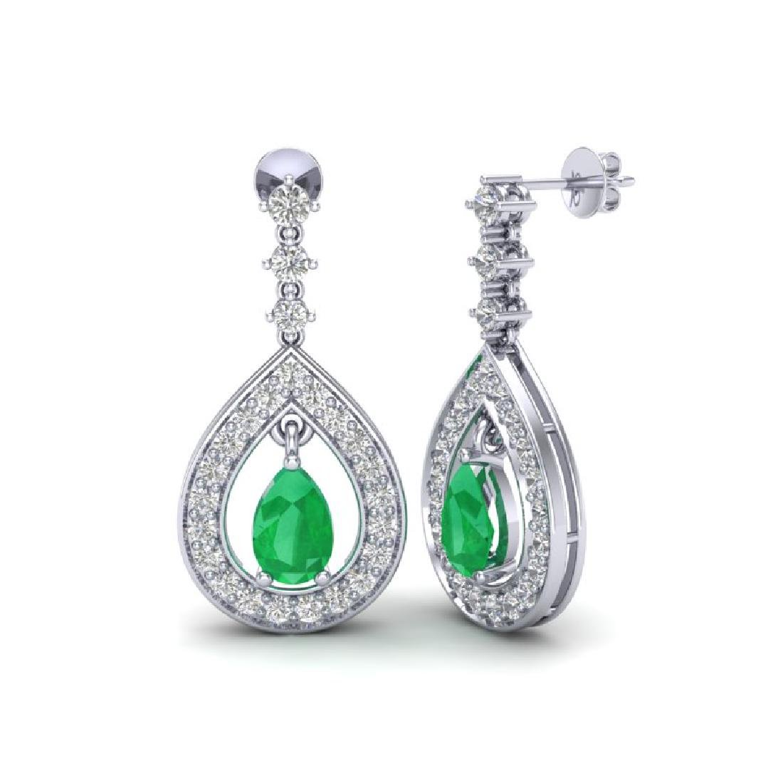 2.25 CTW Emerald & Micro Pave VS/SI Diamond Earrings - 2