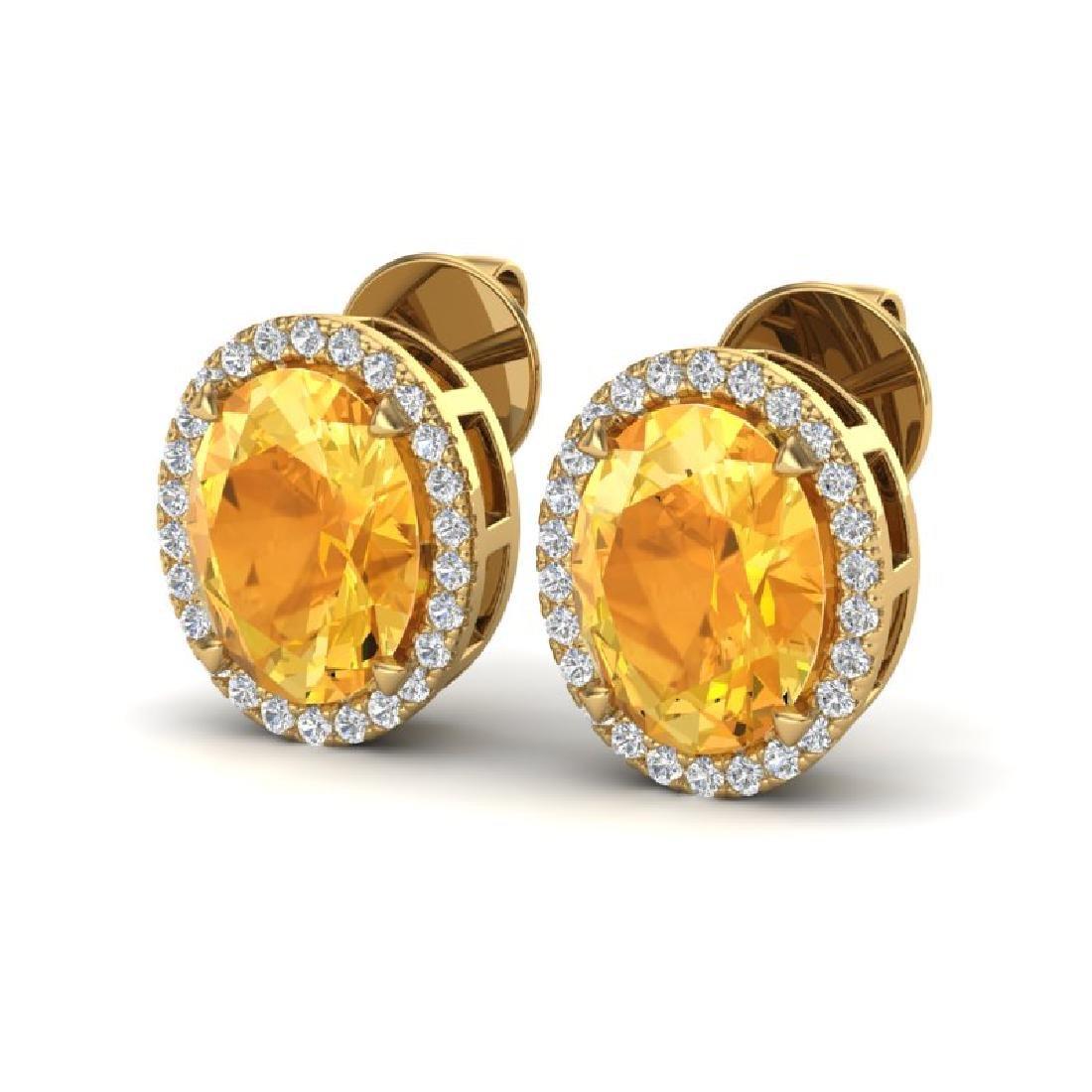 5.50 CTW Citrine & Micro VS/SI Diamond Halo Earrings