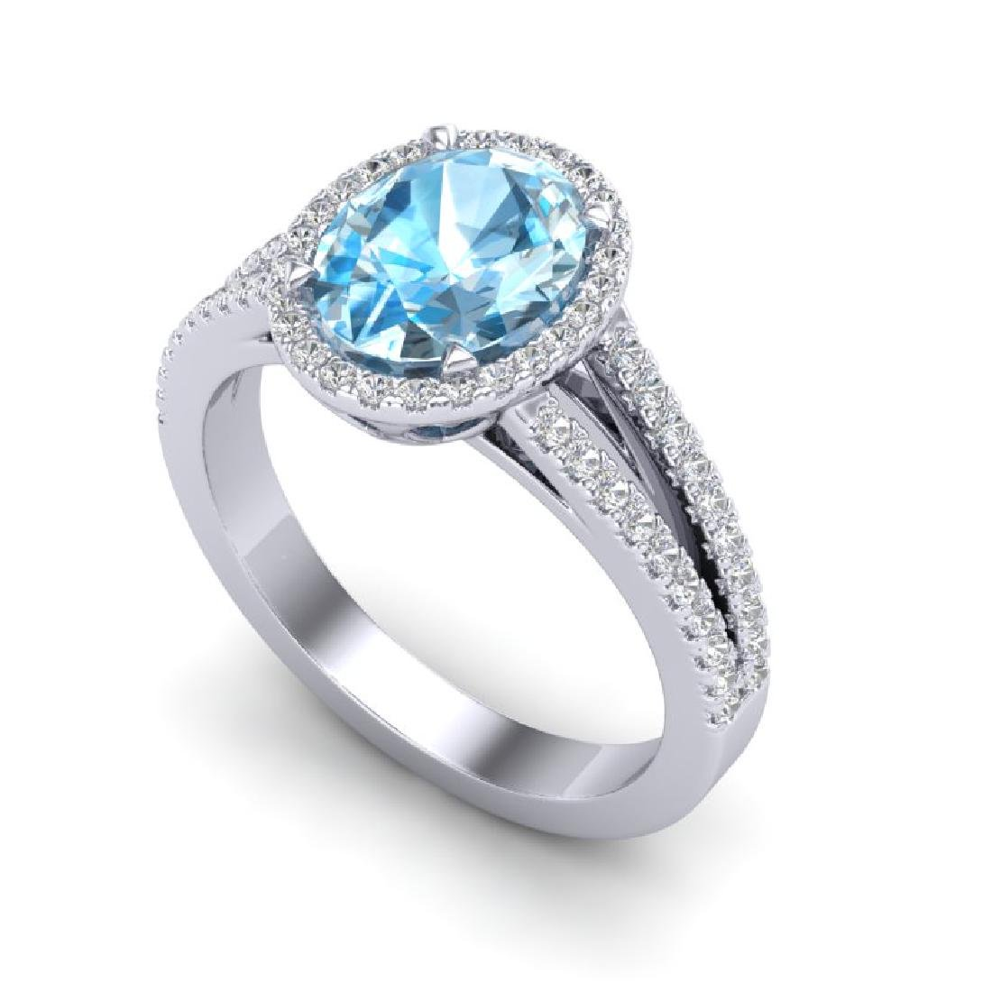 3 Sky Blue Topaz & Micro VS/SI Diamond Halo Solitaire - 2