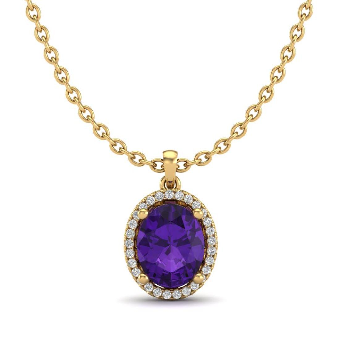 2.50 CTW Amethyst & Micro Pave VS/SI Diamond Necklace - 2