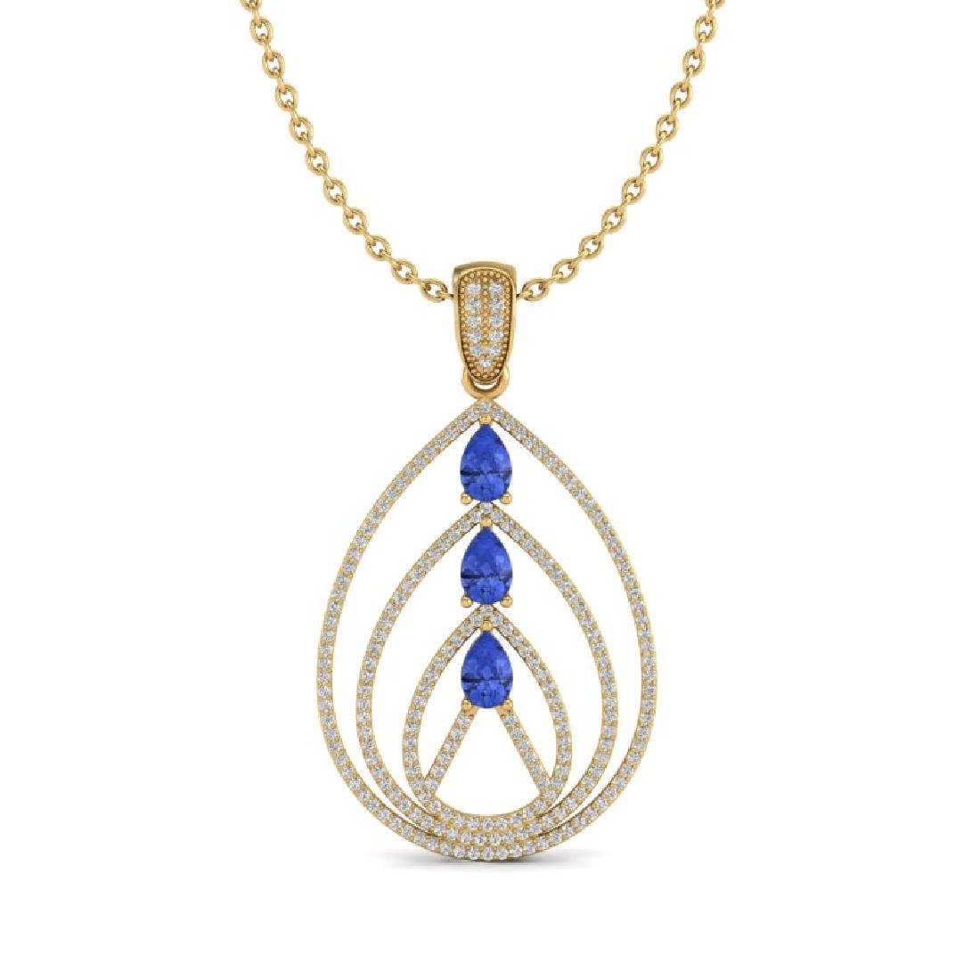 2 CTW Tanzanite & Micro VS/SI Diamond Designer Necklace - 2