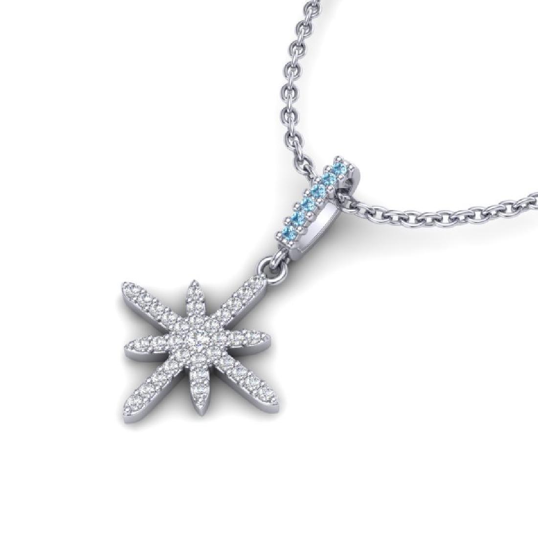 0.38 CTW Micro Pave Blue & White VS/SI Diamond Necklace - 2