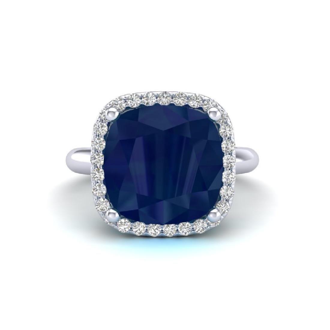 6 CTW Sapphire And Micro Pave Halo VS/SI Diamond Ring