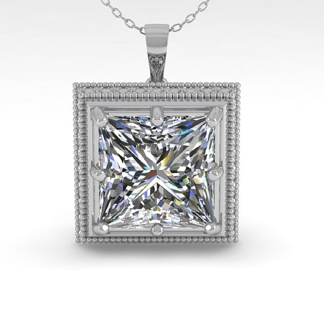 1 CTW VS/SI Princess Diamond Solitaire Necklace 14K - 2