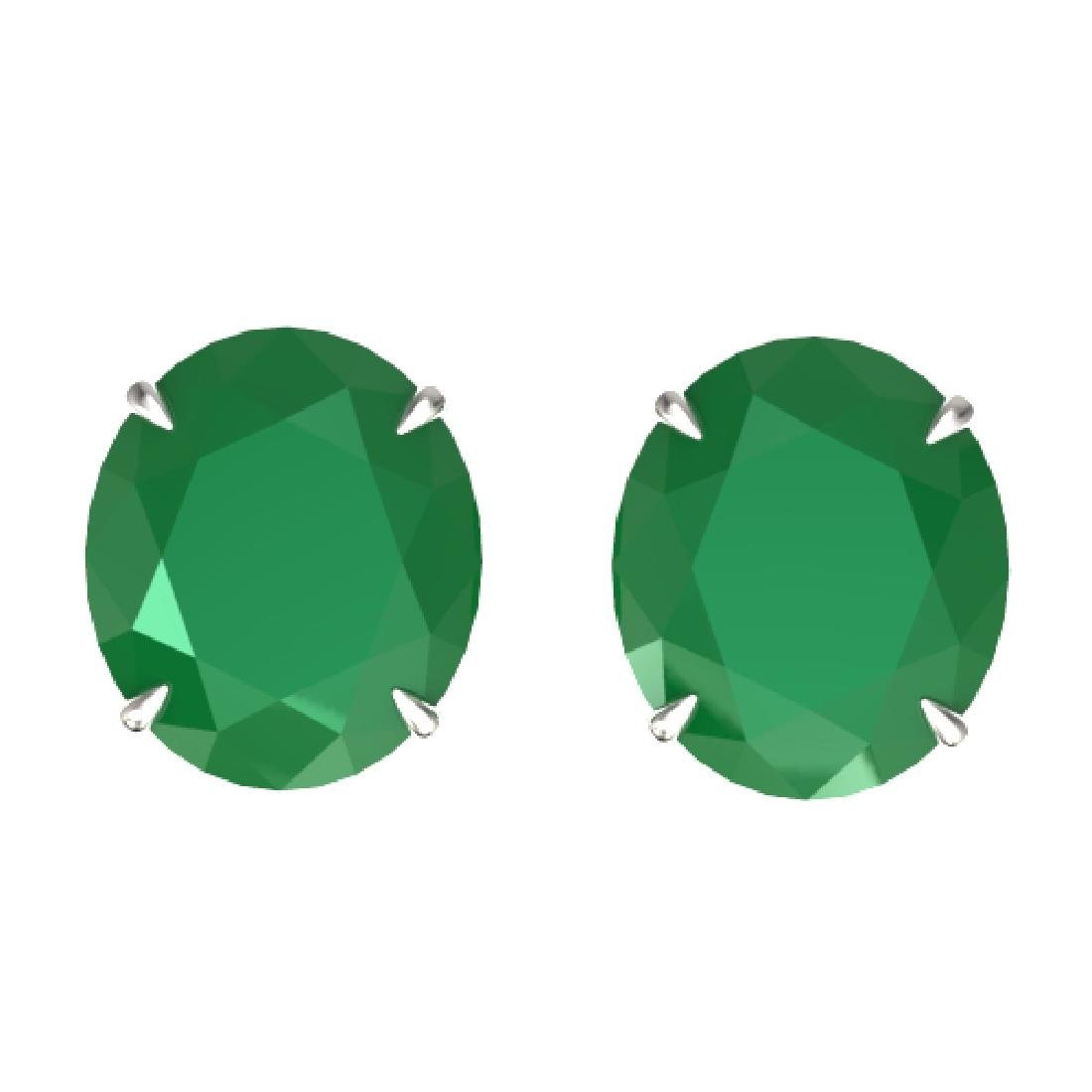 18 CTW Emerald Designer Solitaire Stud Earrings 18K