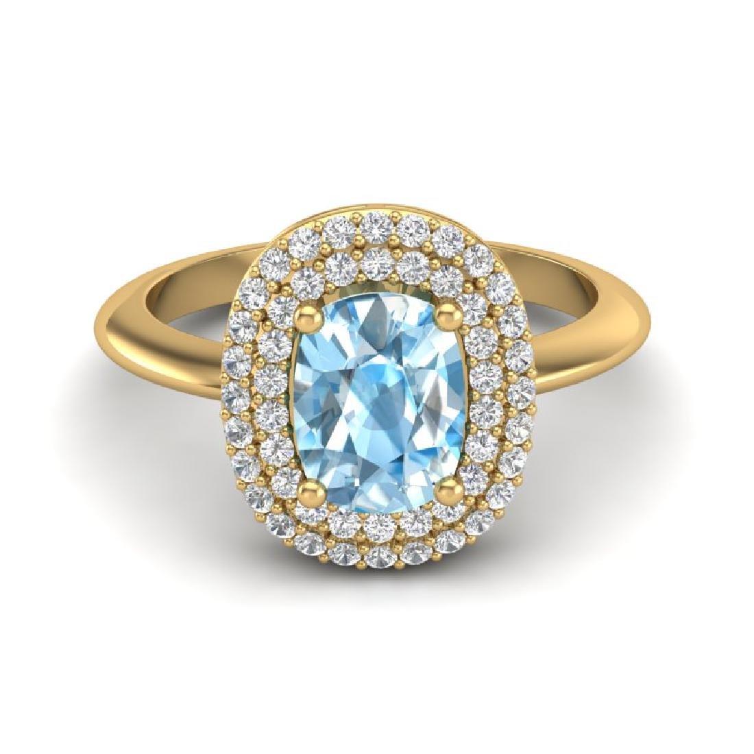 2.50 CTW Sky Blue Topaz With Micro VS/SI Diamond Ring