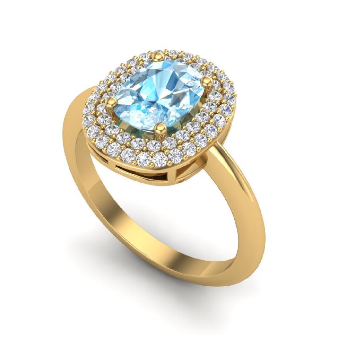2.50 CTW Sky Blue Topaz With Micro VS/SI Diamond Ring - 2
