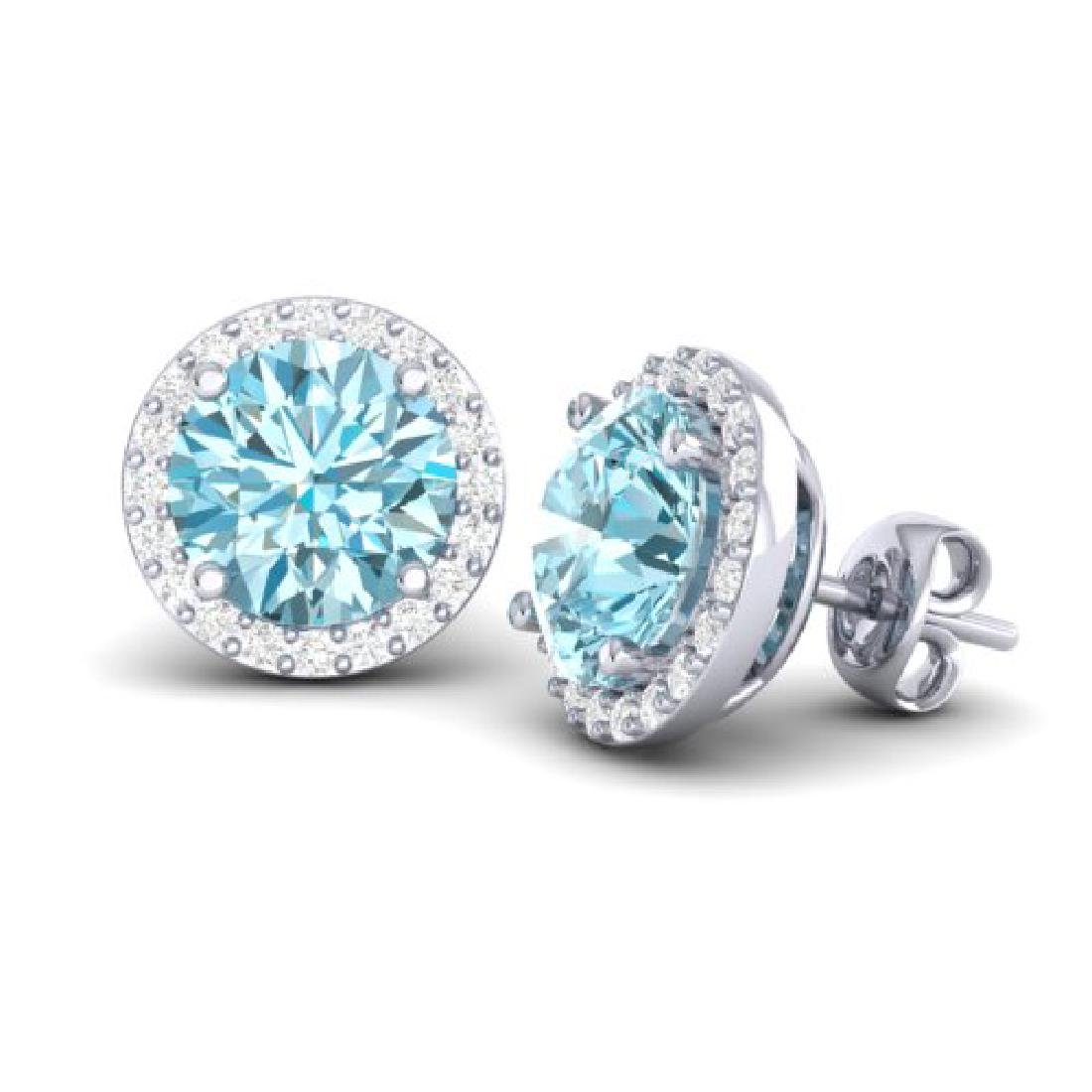 4 CTW Sky Blue Topaz & Halo VS/SI Diamond Micro - 2