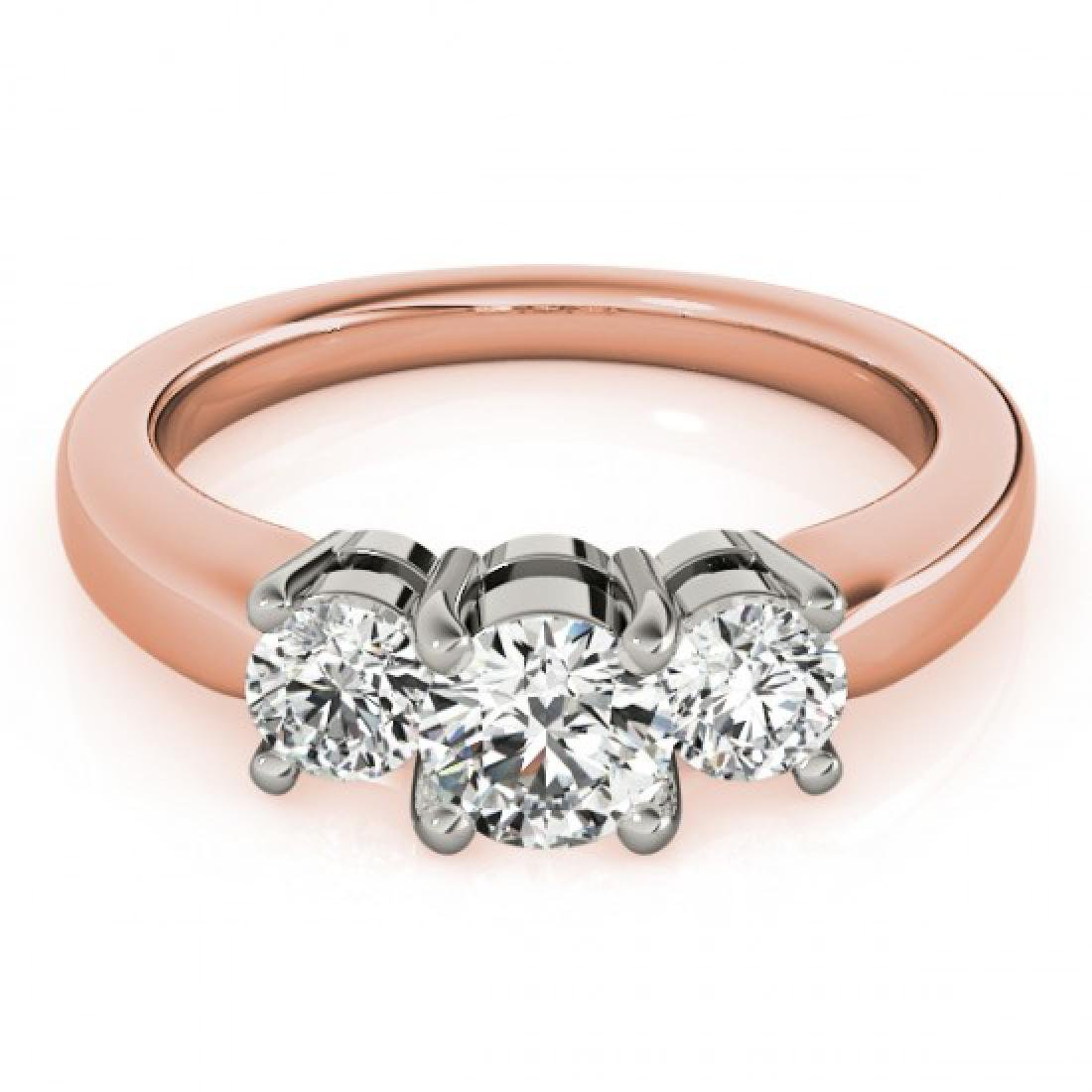 1.33 CTW Certified VS/SI Diamond 3 Stone Ring 14K Rose