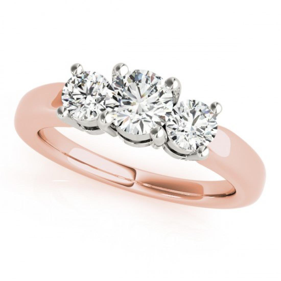 1.33 CTW Certified VS/SI Diamond 3 Stone Ring 14K Rose - 2
