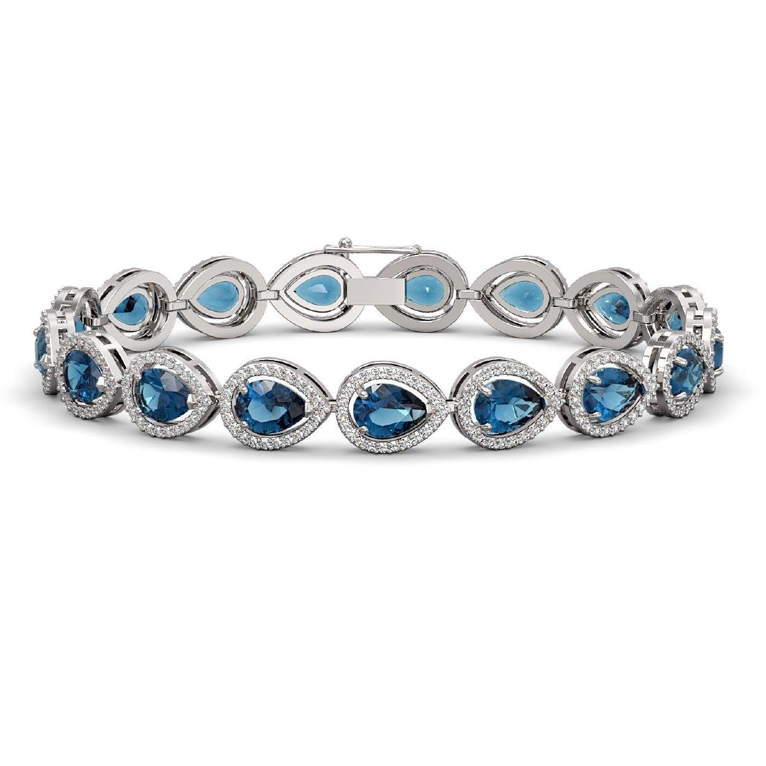16.59 CTW London Topaz & Diamond Halo Bracelet 10K