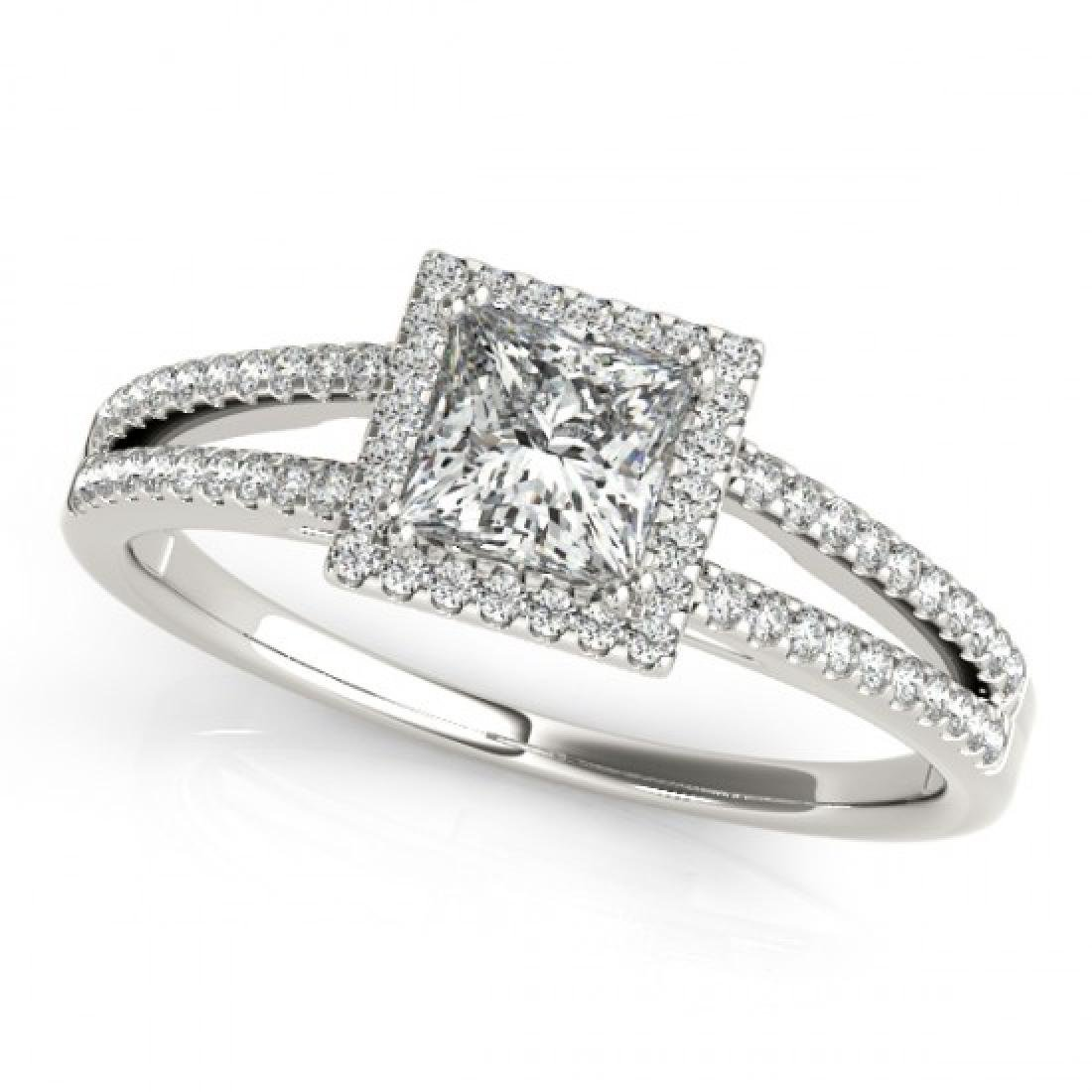 1.1 CTW Certified VS/SI Princess Diamond Solitaire Halo