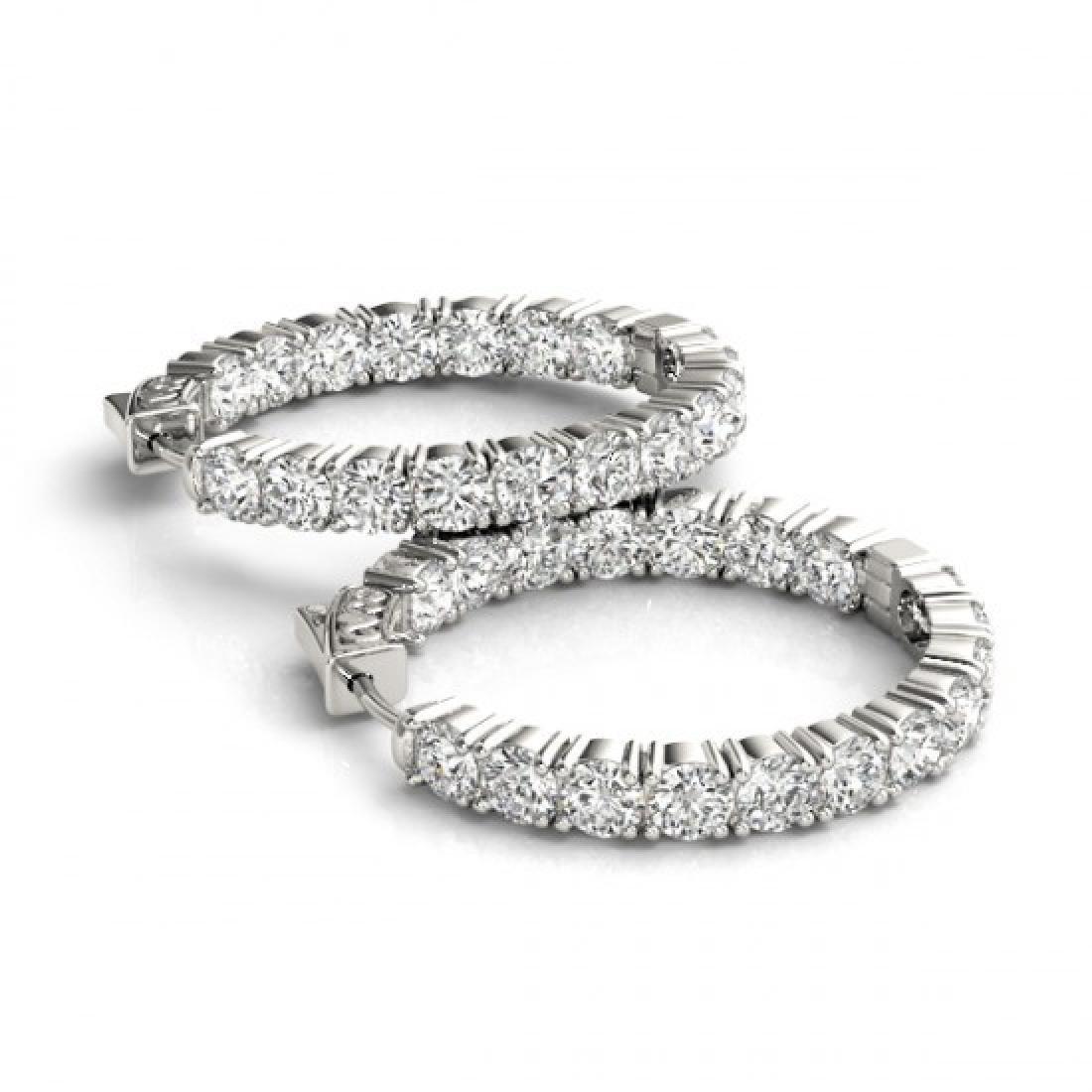 3.5 CTW Diamond VS/SI Certified 22 Mm Hoop Earrings 14K