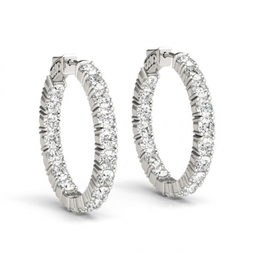 3.5 CTW Diamond VS/SI Certified 22 Mm Hoop Earrings 14K - 2