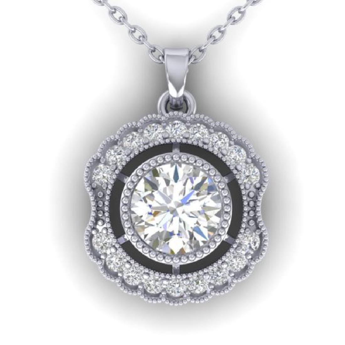 1.02 CTW Certified VS/SI Diamond Art Deco Necklace 18K