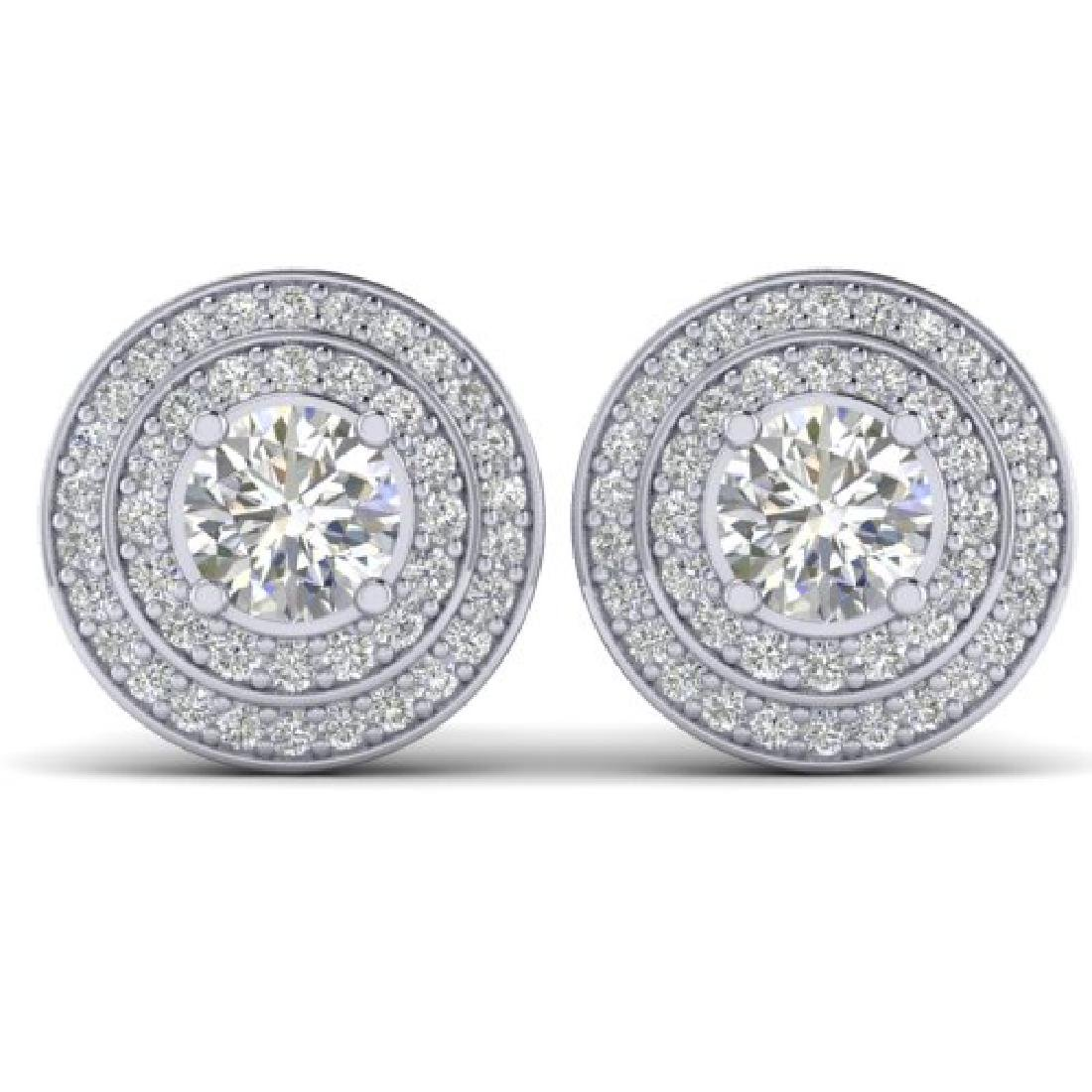 1.45 CTW I-SI Diamond Solitaire Art Deco Halo Stud