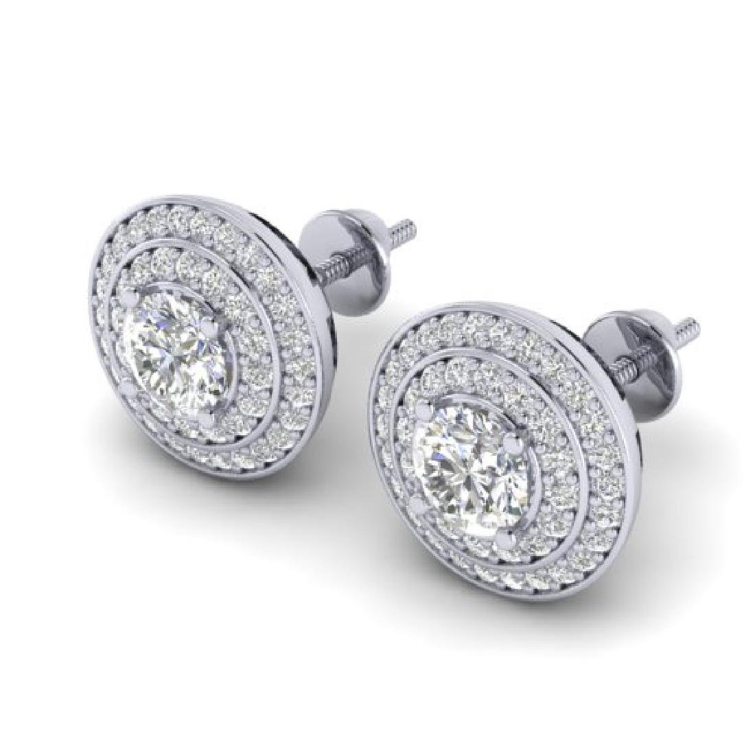 1.45 CTW I-SI Diamond Solitaire Art Deco Halo Stud - 2