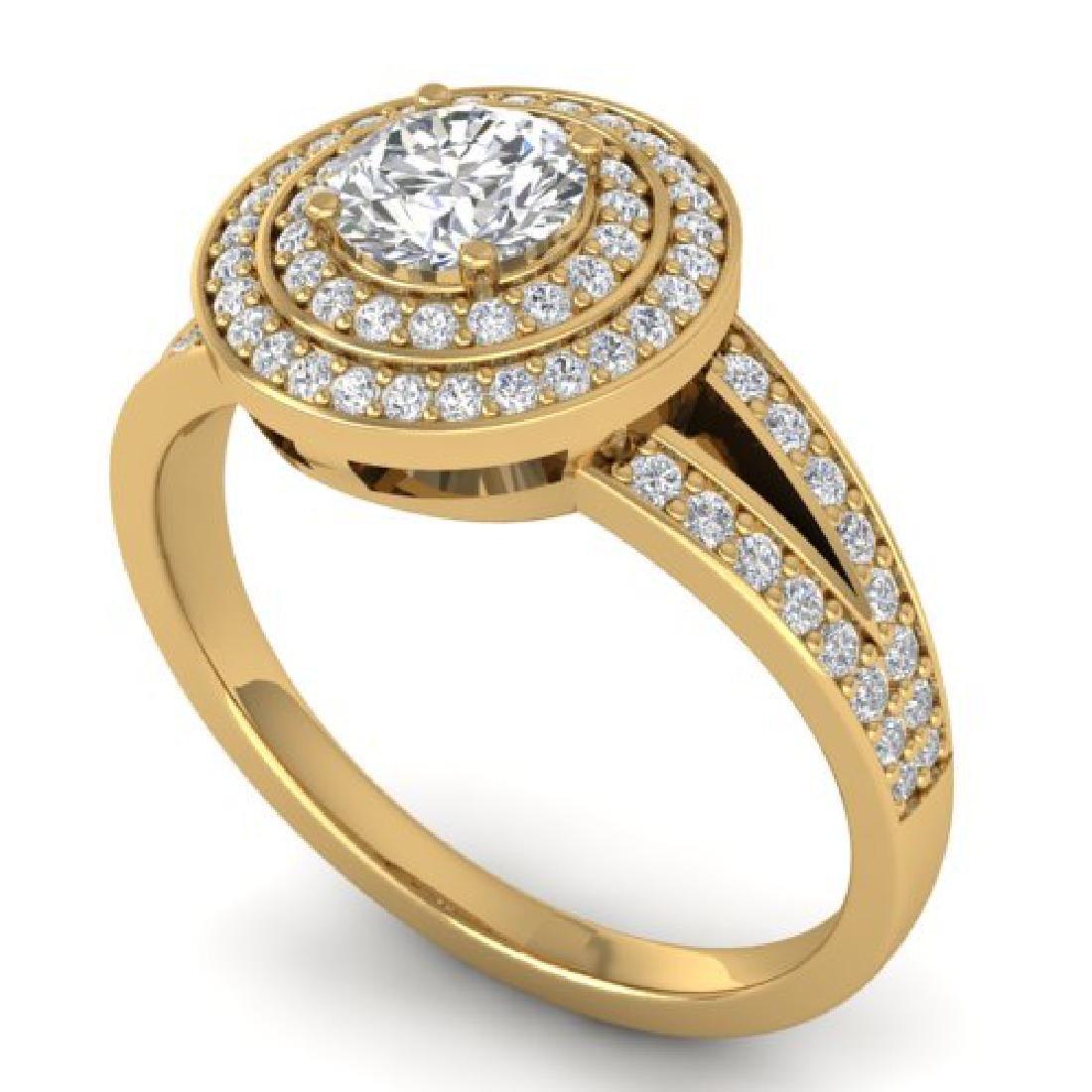 1.15 CTW Certified VS/SI Diamond Art Deco Halo Ring 18K - 2