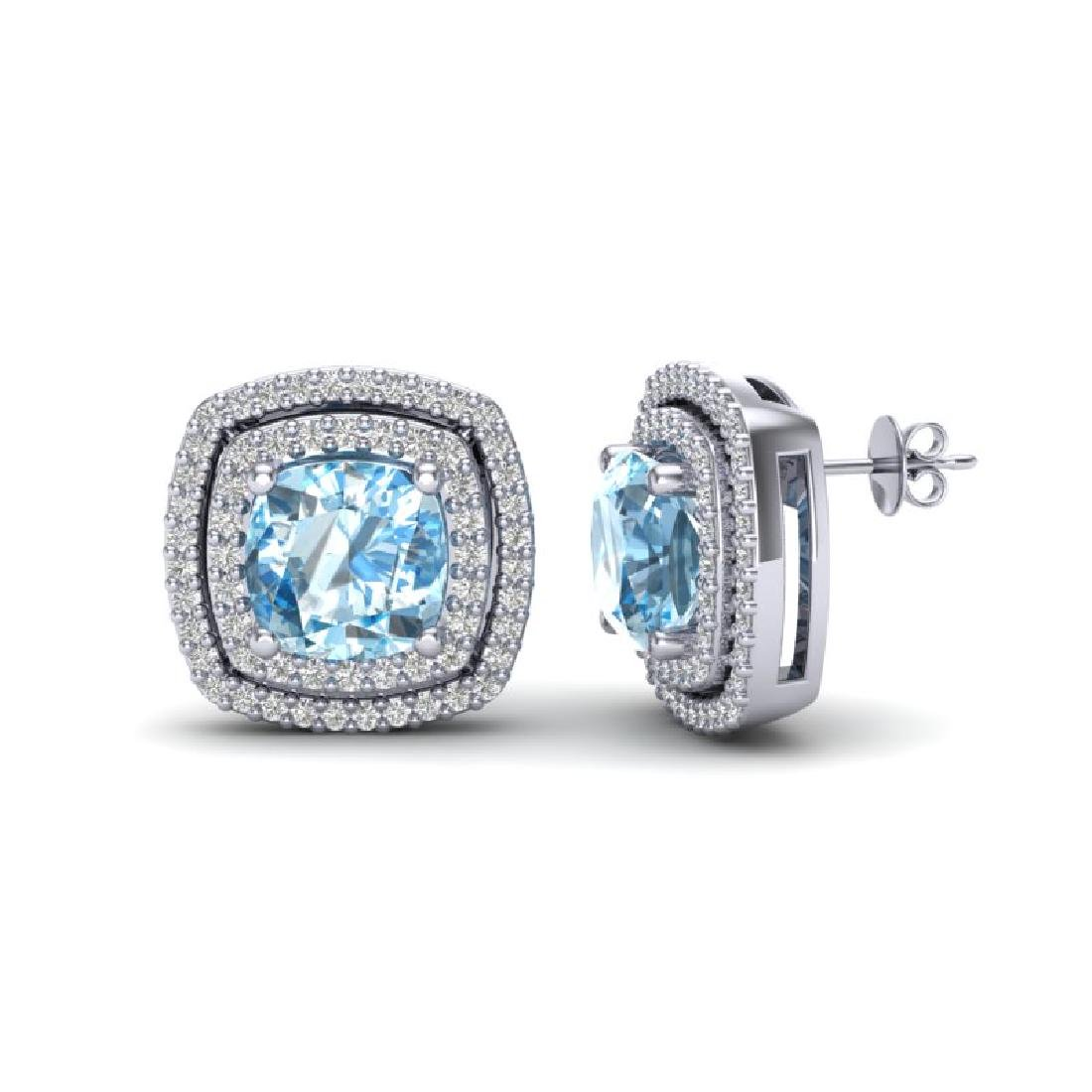 4.05 CTW Sky Blue Topaz & Micro VS/SI Diamond Halo - 2