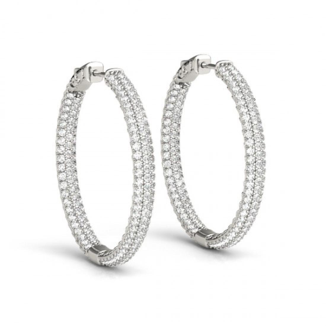 2.5 CTW Diamond VS/SI Certified 25 Mm Hoop Earrings 14K - 2
