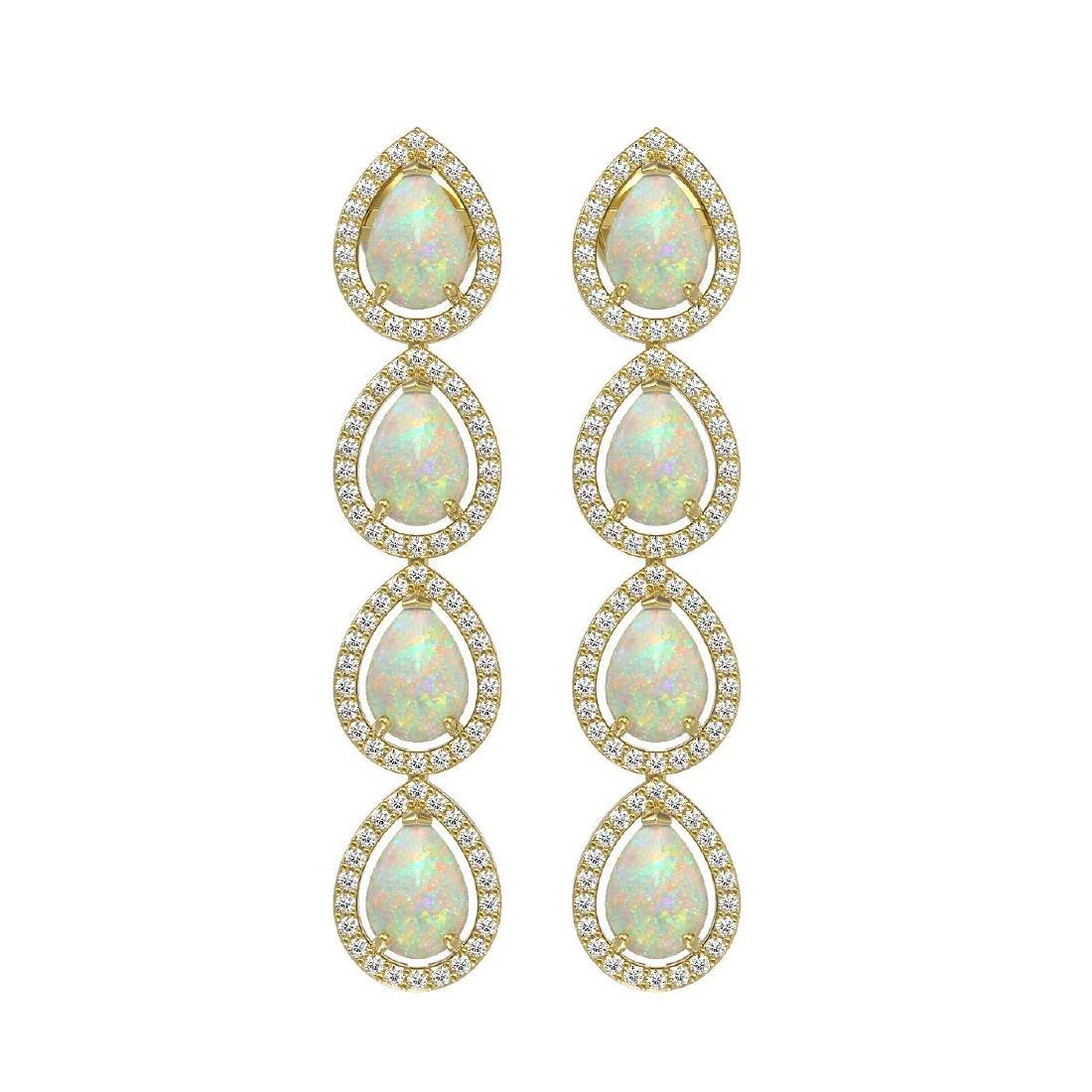 6.2 CTW Opal & Diamond Halo Earrings 10K Yellow Gold
