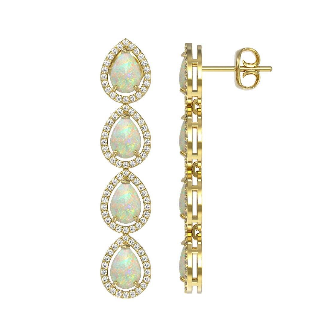 6.2 CTW Opal & Diamond Halo Earrings 10K Yellow Gold - 2