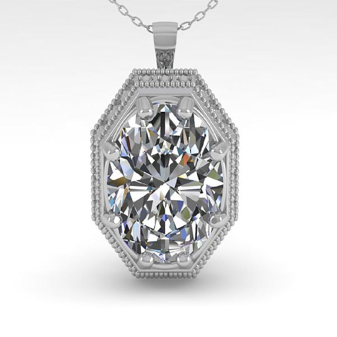 1 CTW VS/SI Oval Cut Diamond Solitaire Necklace 14K - 2
