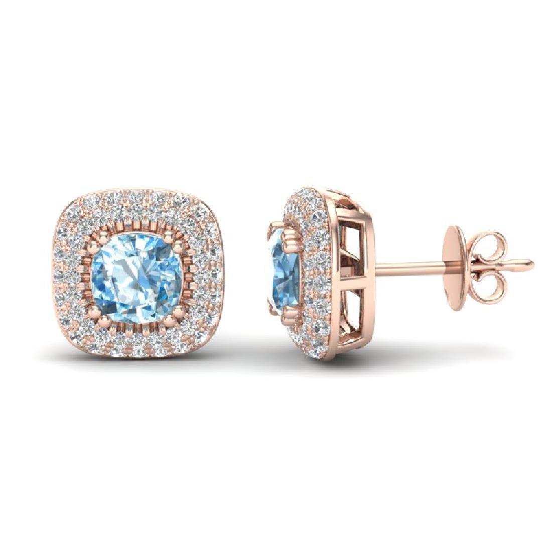 2.16 CTW Sky Blue Topaz & Micro VS/SI Diamond Earrings - 2