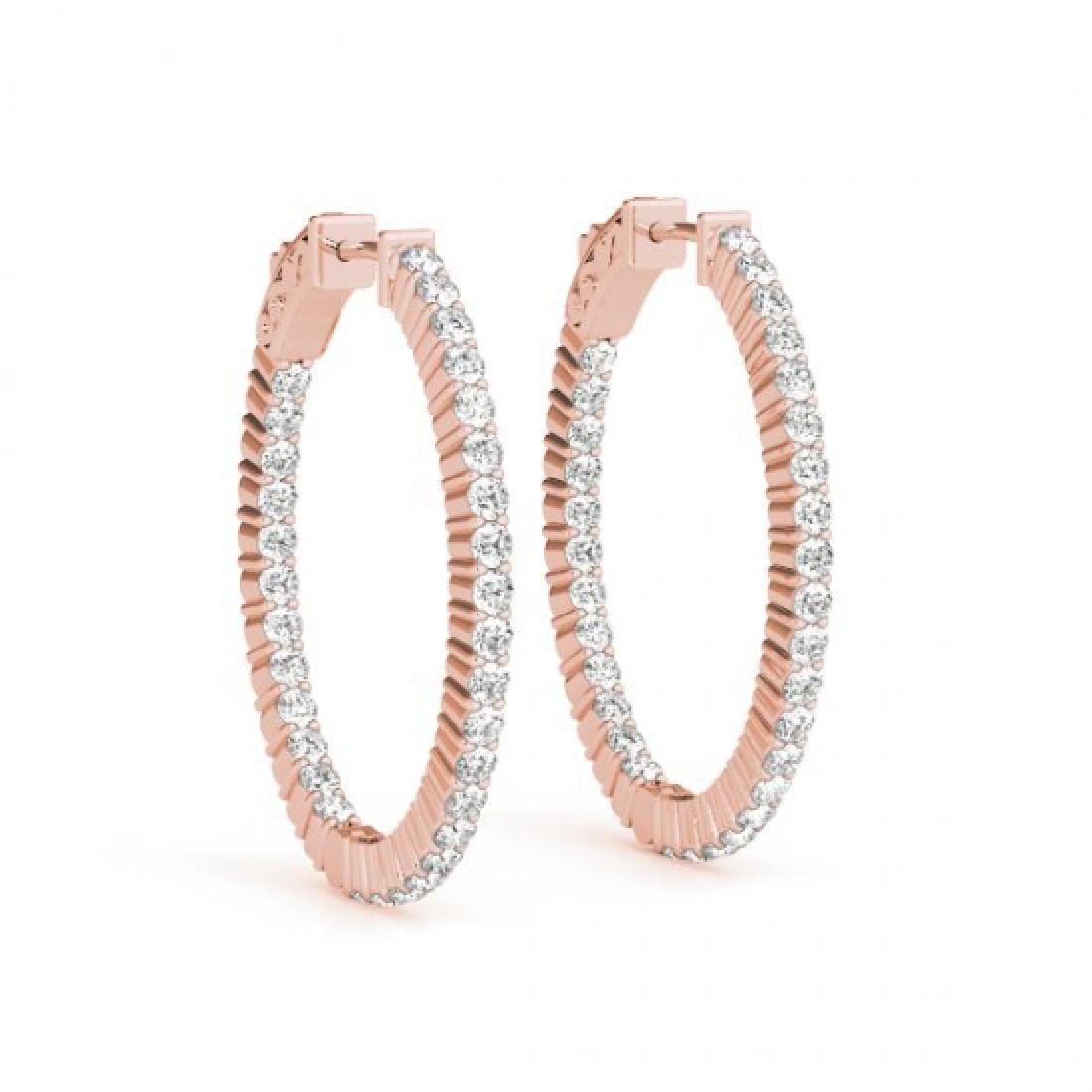 2.25 CTW Diamond VS/SI Certified 33 Mm Hoop Earrings - 2
