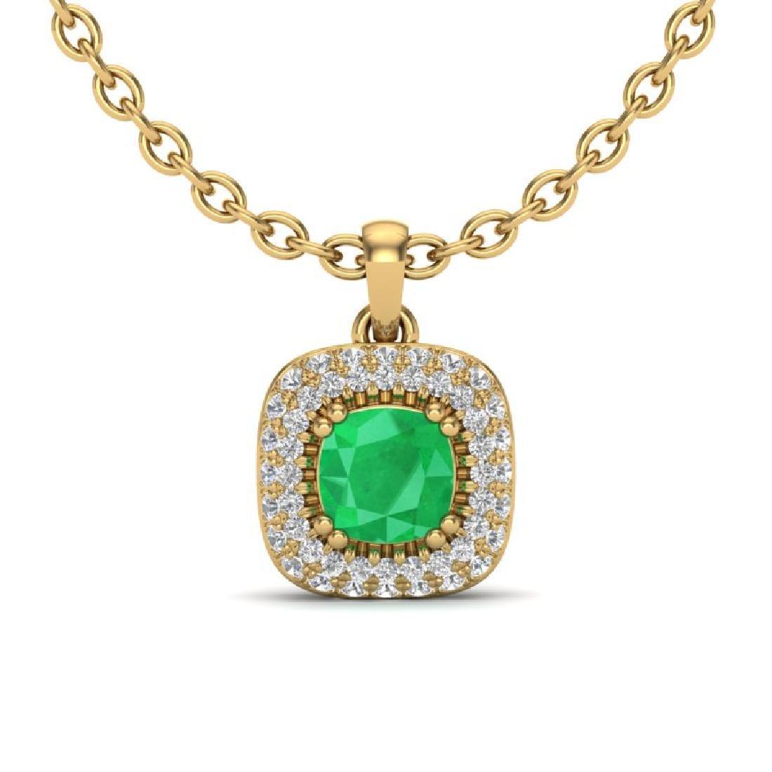 1.08 CTW Emerald & Micro VS/SI Diamond Necklace Halo