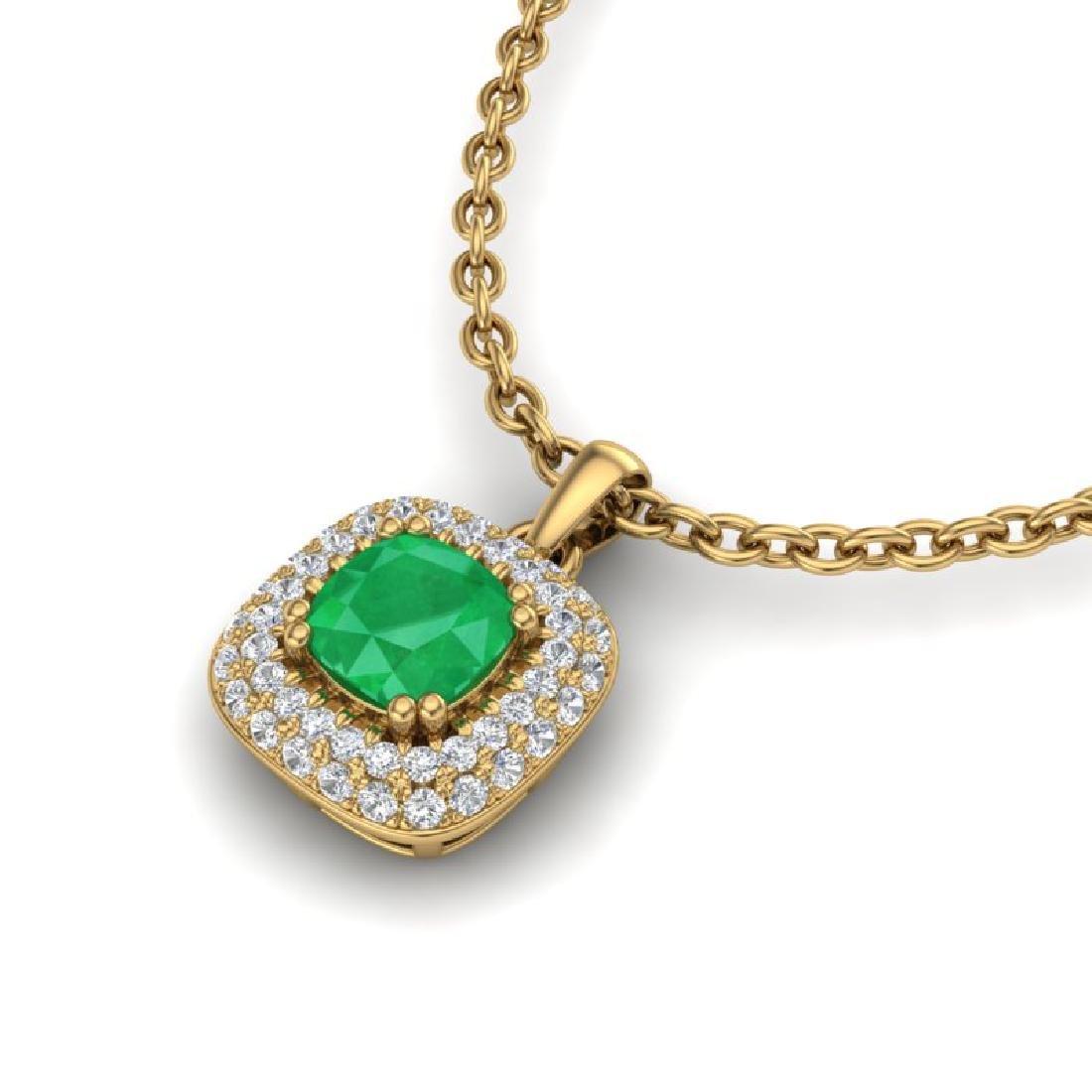 1.08 CTW Emerald & Micro VS/SI Diamond Necklace Halo - 2