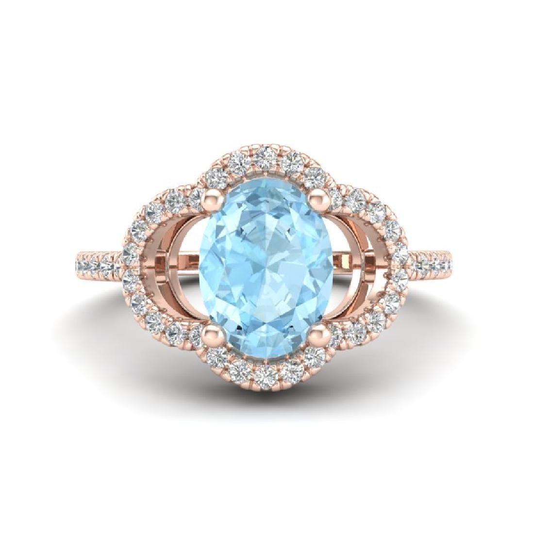 2 CTW Aquamarine & Micro Pave VS/SI Diamond Ring 10K