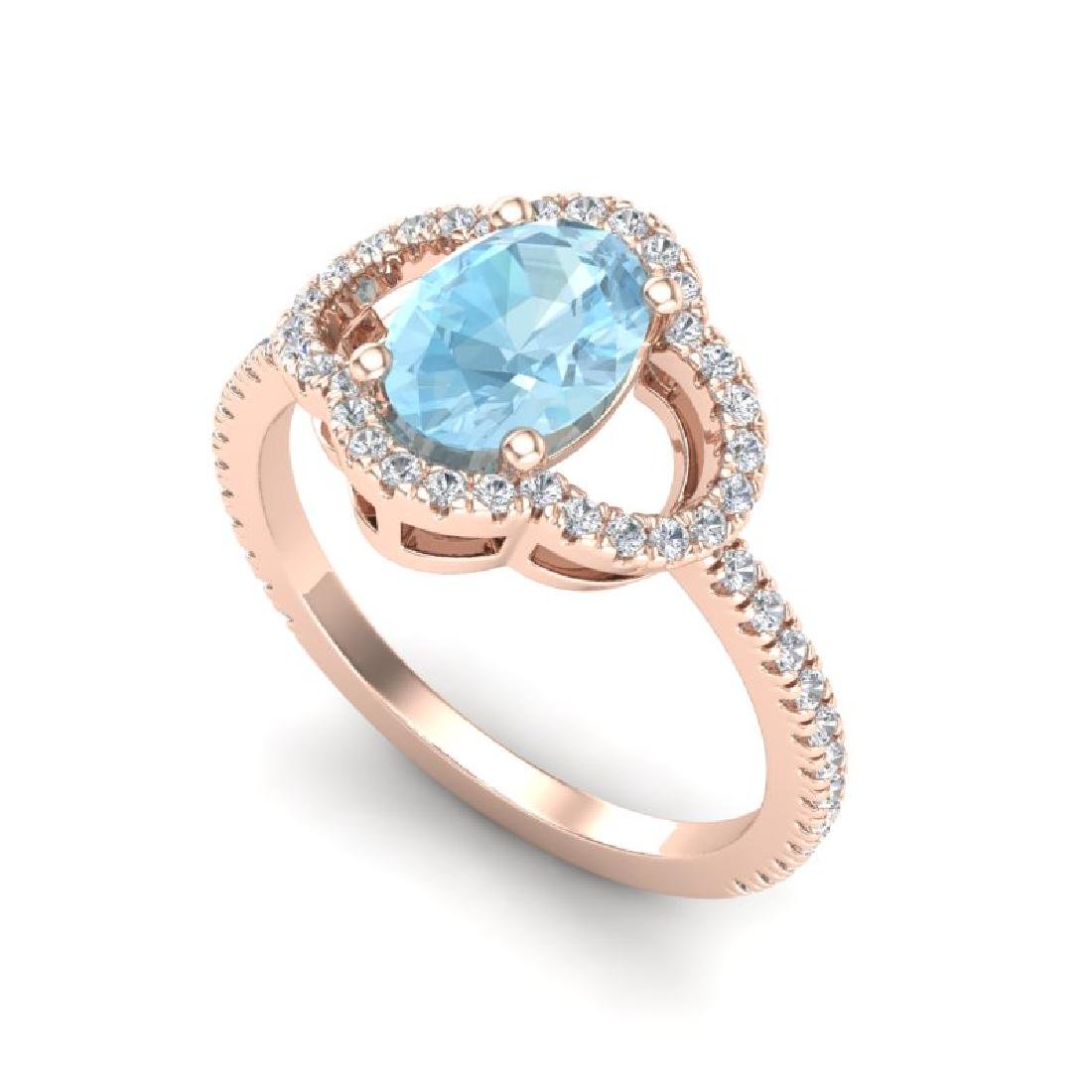 2 CTW Aquamarine & Micro Pave VS/SI Diamond Ring 10K - 2